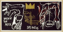 Jean-Michel Basquiat (American, 1960-1988). <em>Back of the Neck</em>, 1983. Silkscreen with hand painting, 50 1/2 x 102in. (128.3 x 259.1cm). Brooklyn Museum, Charles Stewart Smith Memorial Fund, 84.48. © artist or artist's estate (Photo: Brooklyn Museum, 84.48_SL3.jpg)