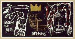 Jean-Michel Basquiat (American, 1960-1988). <em>Back of the Neck</em>, 1983. Silkscreen with hand painting, 50 1/2 x 102in. (128.3 x 259.1cm). Brooklyn Museum, Charles Stewart Smith Memorial Fund, 84.48. © artist or artist's estate (Photo: Brooklyn Museum, 84.48_SL3.jpg)
