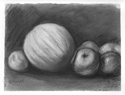 Vincent Canadé (American, born Italy, 1879-1961). <em>Still Life with Melon and Apples</em>, n.d. Pastel on paper, 9 1/2 x 12 1/2 in. (24.1 x 31.8 cm). Brooklyn Museum, Gift of Eugene Canade, 84.74.1. © artist or artist's estate (Photo: Brooklyn Museum, 84.74.1_bw.jpg)