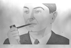 Alex Katz (American, born 1927). <em>Man with Pipe</em>, 1984. Etching and aquatint, Sheet: 19 11/16 x 25 7/8 in. (50 x 65.8 cm). Brooklyn Museum, Gift of the Community Committee of the Brooklyn Museum, 84.83. © artist or artist's estate (Photo: Brooklyn Museum, 84.83_bw.jpg)