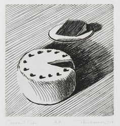 Wayne Thiebaud (American, born 1920). <em>Coconut Cake</em>, 1964. Etching on paper, sheet: 15 x 11 1/8 in. (38.1 x 28.3 cm). Brooklyn Museum, Gift of IBM Gallery of Science and Art, 85.187.43. © artist or artist's estate (Photo: Brooklyn Museum, 85.187.43_PS2.jpg)