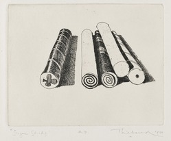 Wayne Thiebaud (American, born 1920). <em>Sugar Sticks</em>, 1964. Etching on paper, sheet: 15 x 11 1/4 in. (38.1 x 28.6 cm). Brooklyn Museum, Gift of IBM Gallery of Science and Art, 85.187.44. © artist or artist's estate (Photo: Brooklyn Museum, 85.187.44_PS2.jpg)