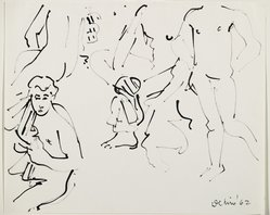 Robert De Niro Sr. (American, 1922-1993). <em>Male Nudes</em>, 1962. Ink on paper, 14 5/8 x 17 15/16 in. (37.1 x 45.6 cm). Brooklyn Museum, Gift of Virginia M. Zabriskie, 85.255.1. © artist or artist's estate (Photo: Brooklyn Museum, 85.255.1_PS6.jpg)