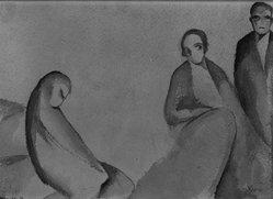 Beatrice Wood (American, 1894-1998). <em>The Forsaken Wife</em>, 1925. Watercolor on paper, sheet: 6 7/8 x 9 15/16 in. (17.5 x 25.2 cm). Brooklyn Museum, Gift of Francis N. Naumann, 85.271.1. © artist or artist's estate (Photo: Brooklyn Museum, 85.271.1_bw.jpg)