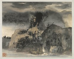 C. C. Wang (Chinese, 1907-2003). <em>Landscape</em>, 1972. Ink and light color on paper, Overall: 29 1/2 x 36 1/2 in. (74.9 x 92.7 cm). Brooklyn Museum, Gift of Mr. and Mrs. Kenneth King, 85.277. © artist or artist's estate (Photo: Brooklyn Museum, 85.277_PS1.jpg)