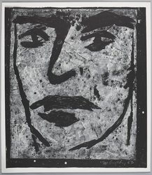 Edward Brezinski (American, 1954-2007). <em>Face</em>, 1983. Linocut in white ink on paper, Sheet: 46 15/16 x 41 9/16 in. (119.3 x 105.5 cm). Brooklyn Museum, Purchased with funds given by the Louis Comfort Tiffany Foundation, 85.35.1. © artist or artist's estate (Photo: , 85.35.1_PS9.jpg)
