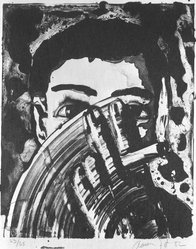 Aaron Fink (American, born 1955). <em>Man with Hand over Face</em>, 1982. Lithograph, Sheet: 25 3/16 x 19 5/16 in. (64 x 49 cm). Brooklyn Museum, Purchased with funds given by the Louis Comfort Tiffany Foundation, 85.44. © artist or artist's estate (Photo: Brooklyn Museum, 85.44_bw.jpg)