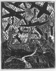 Italo Scanga (American, 1932-2001). <em>The Bombing of Monte Cassino</em>, 1984. Woodcut on paper, sheet: 28 x 20 in. (71.1 x 50.8 cm). Brooklyn Museum, Purchased with funds given by the Louis Comfort Tiffany Foundation, 85.60.4. © artist or artist's estate (Photo: Brooklyn Museum, 85.60.4_bw.jpg)