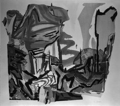 Judy Pfaff (American, born 1946). <em>Yoyogi</em>, 1984. Woodcut on paper, sheet: 32 3/4 x 35 3/4 in. (83.2 x 90.8 cm). Brooklyn Museum, Purchased with funds given by the Louis Comfort Tiffany Foundation, 85.96. © artist or artist's estate (Photo: Brooklyn Museum, 85.96_bw.jpg)