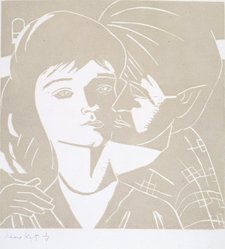 "Alex Katz (American, born 1927). <em>Eric, Anni, light gray, woodblock for ""A Tremor in the Morning,""</em> 1986. Basswood, 12 1/8 x 12 in. (30.8 x 30.5 cm). Brooklyn Museum, Gift of the artist, 86.211.1. © artist or artist's estate (Photo: Brooklyn Museum, 86.211.1_SL4.jpg)"