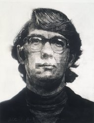Chuck Close (American, 1940-2021). <em>Keith</em>, 1972. Mezzotint with collage and white gouache on paper, Sheet: 52 x 42 in. (132.1 x 106.7 cm). Brooklyn Museum, Gift of Mr. and Mrs. Henry Welt, 86.219. © artist or artist's estate (Photo: Brooklyn Museum, 86.219_transp3201.jpg)