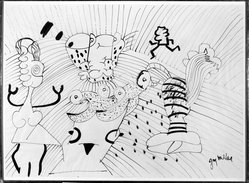 Jay Milder. <em>The Mad Hatter</em>, 1976. Ink on paper, 27 3/8 x 37 1/2 in. (69.5 x 95.3 cm). Brooklyn Museum, Gift of Aaron Berman, 86.284.4. © artist or artist's estate (Photo: Brooklyn Museum, 86.284.4_bw.jpg)