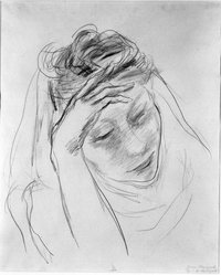 Yasuo Kuniyoshi (American, born Japan, 1889-1953). <em>Girl's Head</em>, ca. 1930. Graphite on paper, Sheet: 17 x 13 7/8 in. (43.2 x 35.2 cm). Brooklyn Museum, Gift of Mr. and Mrs. David Goldschild in memory of William Liberman, 86.294.3. © artist or artist's estate (Photo: Brooklyn Museum, 86.294.3_bw.jpg)