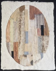 Anne Ryan (American, 1889-1954). <em>Untitled, No. 19</em>, ca. 1951. Collage, fabrics and paper, image (oval collage): 5 7/8 x 4 3/16 in. (15 x 10.6 cm). Brooklyn Museum, Gift of John and Paul Herring, 86.295.1. © artist or artist's estate (Photo: Brooklyn Museum, 86.295.1_transpc003.jpg)