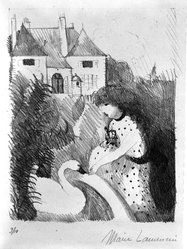Marie Laurencin (French, 1885-1956). <em>Girl Feeding a Swan</em>, early 20th century. Lithograph, Image: 9 7/16 x 7 1/2 in. (24 x 19 cm). Brooklyn Museum, Bequest of Seaman Bechtel, 86.38.12. © artist or artist's estate (Photo: Brooklyn Museum, 86.38.12_bw.jpg)