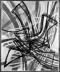 Stanley William Hayter (British, 1901-1988). <em>Hovering Birds</em>, 1956. Oil on canvas, 26 1/4 x 22 in. (66.7 x 55.9 cm). Brooklyn Museum, Purchased with funds given by the Eugene & Estelle Ferkauf Foundation, 86.90. © artist or artist's estate (Photo: Brooklyn Museum, 86.90_bw.jpg)