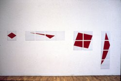 Jennifer Bartlett (American, born 1941). <em>Red Diamond</em>, 1977. Enamel over epoxy silkscreen grid on baked enamel steel plates, 13 plates, each: 12 x 12 in. (30.5 x 30.5 cm). Brooklyn Museum, John B. Woodward Memorial Fund, 86.93. © artist or artist's estate (Photo: Brooklyn Museum, 86.93_slide_SL3.jpg)
