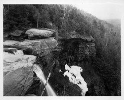 David A. Hanson (American, born 1941). <em>Brink of Kaaterskill Falls</em>, 1986. Salted paper photograph, image: 10 1/4 x 13 in. (26 x 33 cm). Brooklyn Museum, Purchased with funds given by Rita and Daniel J. Fraad, Jr., 87.105. © artist or artist's estate (Photo: Brooklyn Museum, 87.105_bw.jpg)