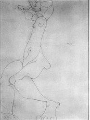 Joan Miró (Spanish, 1893-1983). <em>Seated Model</em>, 1937. Pencil on wove paper, 12 1/2 x 9 1/2 in. (31.8 x 24.1 cm). Brooklyn Museum, Gift of Karen B. Cohen, 87.147. © artist or artist's estate (Photo: Brooklyn Museum, 87.147_bw.jpg)