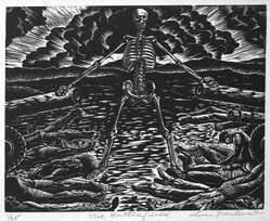 Lou Barlow (American, 1908-2011). <em>The Battlefield</em>, 1986. Linocut on Rives paper, Sheet (folio): 15 x 13 1/8 in. (38.1 x 33.3 cm). Brooklyn Museum, Gift of the artist, 87.197.3. © artist or artist's estate (Photo: Brooklyn Museum, 87.197.3_bw.jpg)
