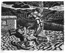 Lou Barlow (American, 1908-2011). <em>The Innocents</em>, 1986. Linocut on Rives paper, Sheet (folio): 15 x 13 1/4 in. (38.1 x 33.7 cm). Brooklyn Museum, Gift of the artist, 87.197.4. © artist or artist's estate (Photo: Brooklyn Museum, 87.197.4_bw.jpg)