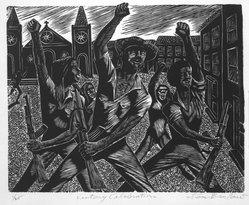 Lou Barlow (American, 1908-2011). <em>Victory Celebration - July 19, 1979</em>, 1986. Linocut on Rives paper, Sheet (folio): 15 x 13 1/4 in. (38.1 x 33.7 cm). Brooklyn Museum, Gift of the artist, 87.197.5. © artist or artist's estate (Photo: Brooklyn Museum, 87.197.5_bw.jpg)