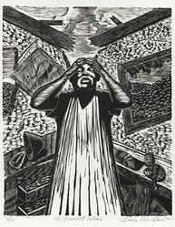Lou Barlow (American, 1908-2011). <em>A Secret War</em>, 1986. Linocut on Rives paper, Sheet (folio): 15 x 13 1/4 in. (38.1 x 33.7 cm). Brooklyn Museum, Gift of the artist, 87.197.6. © artist or artist's estate (Photo: Brooklyn Museum, 87.197.6_PS6.jpg)