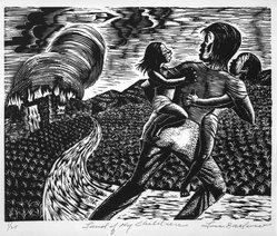 Lou Barlow (American, 1908-2011). <em>Land of My Children</em>, 1986. Linocut on Rives paper, Sheet (folio): 15 x 13 1/4 in. (38.1 x 33.7 cm). Brooklyn Museum, Gift of the artist, 87.197.7. © artist or artist's estate (Photo: Brooklyn Museum, 87.197.7_bw.jpg)