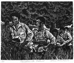 Lou Barlow (American, 1908-2011). <em>Sandinista Patrol</em>, 1986. Linocut on Rives paper, Sheet (folio): 15 x 13 1/4 in. (38.1 x 33.7 cm). Brooklyn Museum, Gift of the artist, 87.197.8. © artist or artist's estate (Photo: Brooklyn Museum, 87.197.8_bw.jpg)