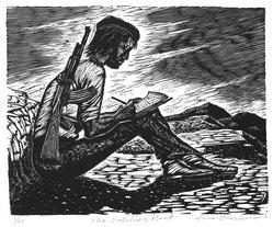 Lou Barlow (American, 1908-2011). <em>The Soldier Poet</em>, 1986. Linocut on Rives paper, Sheet (folio): 15 x 13 1/4 in. (38.1 x 33.7 cm). Brooklyn Museum, Gift of the artist, 87.197.9. © artist or artist's estate (Photo: Brooklyn Museum, 87.197.9_bw.jpg)