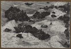 Peter Blume (American, 1906-1992). <em>Untitled (Rocks and Sea with Gulls)</em>, 1958. India ink on Japanese paper, 12 3/4 x 18 1/2 in. (32.4 x 47 cm). Brooklyn Museum, Bequest of Nancy S. Holsten in memory of Edward L. Holsten, 87.204.4. © artist or artist's estate (Photo: Brooklyn Museum, 87.204.4_PS4.jpg)