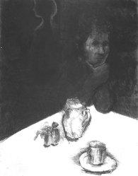 George Segal (American, 1924-2000). <em>Menasha</em>, 1986-1987. Aquatint, soft-ground and drypoint on paper, sheet: 51 x 40 3/8 in. (129.5 x 102.5 cm). Brooklyn Museum, Gift of Carroll Janis, 87.247.5. © artist or artist's estate (Photo: Brooklyn Museum, 87.247.5_bw.jpg)