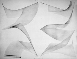 Blythe Bohnen (American, born 1940). <em>Untitled Drawing</em>, 1972. Graphite on paper, 45 x 35 in. (114.3 x 88.9 cm). Brooklyn Museum, Gift of Alan Sonfist, 87.250.2. © artist or artist's estate (Photo: Brooklyn Museum, 87.250.2_bw.jpg)