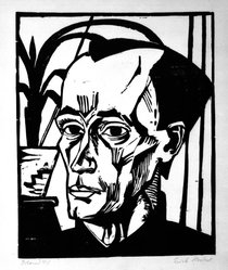 Erich Heckel (German, 1883-1970). <em>Bildnis E.H. (Portrait of E.H.)</em>, 1917. Woodcut on laid paper, Sheet: 20 1/2 x 18 7/8 in. (52.1 x 47.9 cm). Brooklyn Museum, Alfred T. White Fund, 88.136. © artist or artist's estate (Photo: Brooklyn Museum, 88.136_bw.jpg)