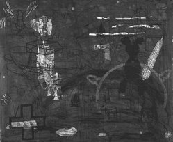 Jane Hammond (American, born 1950). <em>Untitled #13</em>, 1988. Etching, linocut, chine colle with hand painting and color xerox collage on rice paper colle, Sheet: 24 x 27 5/8 in. (61 x 70.2 cm). Brooklyn Museum, Purchased with funds given by an anonymous donor, 88.137. © artist or artist's estate (Photo: Brooklyn Museum, 88.137_bw.jpg)