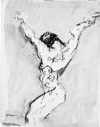 Abraham Rattner (American, 1895-1978). <em>Crucifixion</em>, ca. 1952. India ink and wash on off-white wove paper, sheet: 23 7/8 x 18 15/16 in. (60.6 x 48.1 cm). Brooklyn Museum, Gift of the Edith and Milton Lowenthal Foundation, Inc., 88.207. © artist or artist's estate (Photo: Brooklyn Museum, 88.207_bw.jpg)