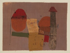 Hannelore Baron (American, 1926-1987). <em>Untitled</em>, 1972. Fabric collage on cloth, 8 1/4 x 11 in. (21 x 27.9 cm). Brooklyn Museum, Gift of the Estate of Hannelore Baron, 88.43.1. © artist or artist's estate (Photo: Brooklyn Museum, 88.43.1_PS9.jpg)