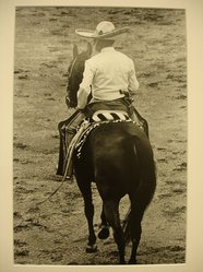 Leticia Kalb (Mexican, born 1930). <em>[Untitled] (Mexican rider on horse)</em>, 1982. Gelatin silver photograph, 13 1/2 x 9 1/8 in. Brooklyn Museum, Gift of Marcuse Pfeifer, 1990.119.41. © artist or artist's estate (Photo: Brooklyn Museum, CUR.1990.119.41.jpg)