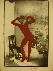 Kaspar Thomas Linder (Swiss, born 1951). <em>August 1, 1984</em>, 1984. Gelatin silver photograph with applied red paint, Sheet: 15 x 10 1/4 in. Brooklyn Museum, Gift of Marcuse Pfeifer, 1990.119.54. © artist or artist's estate (Photo: Brooklyn Museum, CUR.1990.119.54.jpg)