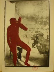 Kaspar Thomas Linder (Swiss, born 1951). <em>August 1, 1984</em>, 1984. Gelatin silver photograph with applied red paint, Sheet: 15 x 10 1/4 in. Brooklyn Museum, Gift of Marcuse Pfeifer, 1990.119.55. © artist or artist's estate (Photo: Brooklyn Museum, CUR.1990.119.55.jpg)