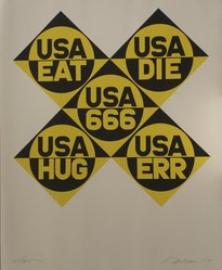 Robert Indiana (American, 1928-2018). <em>1966: USA 666</em>, 1971. Serigraph, Sheet: 39 x 32 in. (99.1 x 81.3 cm). Brooklyn Museum, Anonymous gift, 1990.209.1. © artist or artist's estate (Photo: Brooklyn Museum, CUR.1990.209.1.jpg)