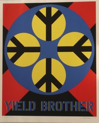Robert Indiana (American, 1928-2018). <em>1962: Yield Brother</em>, 1971. Serigraph, Sheet: 39 x 32 in. (99.1 x 81.3 cm). Brooklyn Museum, Anonymous gift, 1990.209.2. © artist or artist's estate (Photo: Brooklyn Museum, CUR.1990.209.2.jpg)