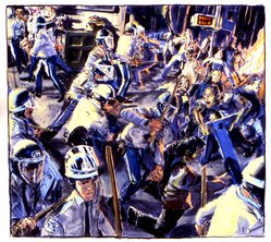 James Romberger (American, born 1958). <em>Police vs. Squatters</em>, 1989. Pastel on paper, 38 1/4 x 42 1/2 in. (97.1 x 107.9 cm. Brooklyn Museum, Purchase gift of Anne W. Werner, 1990.53. © artist or artist's estate (Photo: James Romberger, CUR.1990.53_artist_photo.jpg)