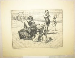 George Renouard (American, 1855-1954). <em>On the Beach</em>, n.d. Etching on wove paper, sheet: 8 11/16 x 11 1/4 in. (22.1 x 28.5 cm). Brooklyn Museum, Gift of Gertrude W. Dennis, 1991.153.25. © artist or artist's estate (Photo: Brooklyn Museum, CUR.1991.153.25.jpg)
