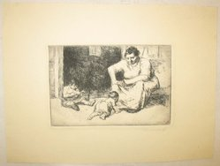 George Renouard (American, 1855-1954). <em>Mother and Children</em>, n.d. Etching on wove paper, sheet: 7 15/16 x 10 1/2 in. (20.1 x 26.6 cm). Brooklyn Museum, Gift of Gertrude W. Dennis, 1991.153.26. © artist or artist's estate (Photo: Brooklyn Museum, CUR.1991.153.26.jpg)