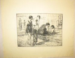 George Renouard (American, 1855-1954). <em>Mama Bathing</em>, n.d. Etching on wove paper, sheet: 8 3/4 x 11 1/8 in. (22.2 x 28.2 cm). Brooklyn Museum, Gift of Gertrude W. Dennis, 1991.153.27. © artist or artist's estate (Photo: Brooklyn Museum, CUR.1991.153.27.jpg)