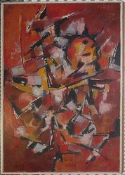 Pierre Mantra. <em>Abstract Composition (Red)</em>, 1958. Oil on canvas, 40 1/4 × 26 1/4 × 1 3/4 in. (102.2 × 66.7 × 4.4 cm). Brooklyn Museum, Bequest of William K. Jacobs, Jr., 1992.107.24. © artist or artist's estate (Photo: , CUR.1992.107.24.jpg)