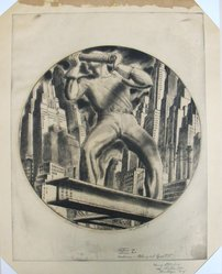 Harry Sternberg (American, 1904-2001). <em>Construction</em>, 1932. Etching and aquatint on wove paper, Image (Round central image, diameter): 10 1/8 in. (25.7 cm). Brooklyn Museum, Gift of Samuel and Linda Kramer, 1992.121. © artist or artist's estate (Photo: Brooklyn Museum, CUR.1992.121.jpg)