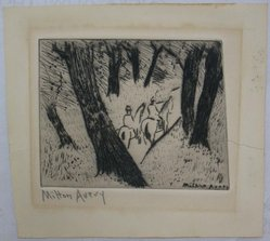 Milton Avery (American, 1885-1965). <em>Riders in the Park</em>, 1934. Drypoint on white wove paper, Image: 9 11/16 x 12 in. (24.6 x 30.5 cm). Brooklyn Museum, Bequest of Ivor Green and Augusta Green, 1992.273.3. © artist or artist's estate (Photo: Brooklyn Museum, CUR.1992.273.3.jpg)