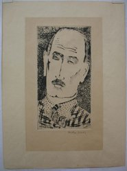 Milton Avery (American, 1885-1965). <em>Self-Portrait</em>, 1935. Etching on tan wove paper, Image: 9 1/16 x 4 3/4 in. (23 x 12 cm). Brooklyn Museum, Bequest of Ivor Green and Augusta Green, 1992.273.7. © artist or artist's estate (Photo: Brooklyn Museum, CUR.1992.273.7.jpg)